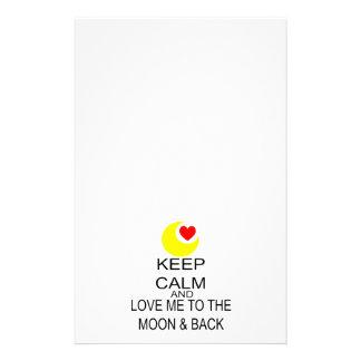 Papeterie Gardez le calme et aimez-moi à la lune et au dos