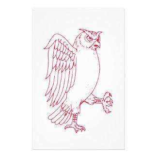 Papeterie Grand dessin de marche de hibou à cornes