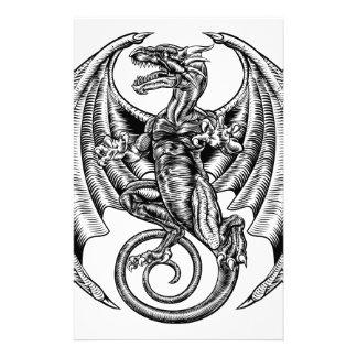 Papeterie Gravure sur bois à ailes en dragon