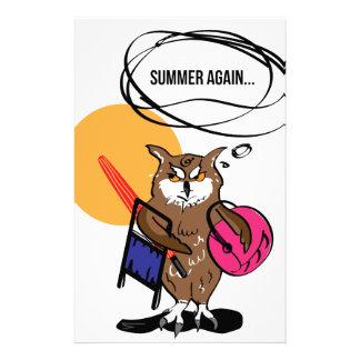 Papeterie Hibou qui déteste le T-shirt d'été