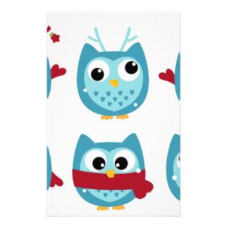 Papeterie Hiboux merveilleux bleus sur le blanc