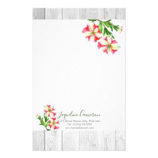 Papeterie Illustration rose et blanche d'aquarelle de