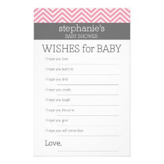 Papeterie Jeu de douche de souhaits de bébé de chevrons de