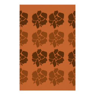 Papeterie La conception fleurit le brun d'ethno