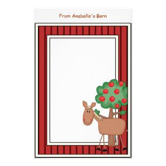 Papeterie Le cadre de grange de pommier de poney d'amusement
