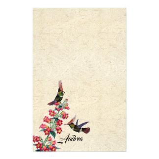Papeterie Le rouge de faune d'oiseaux de colibri fleurit la