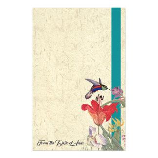 Papeterie Les fleurs d'oiseau de colibri ont personnalisé la