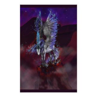 Papeterie Licorne bleue de blanc de poney de cheval à ailes