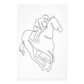 Papeterie Ligne continue de course de chevaux de jockey
