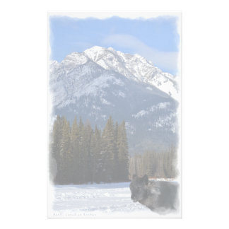 Papeterie Loup de Banff en hiver avec la cascade de Mt