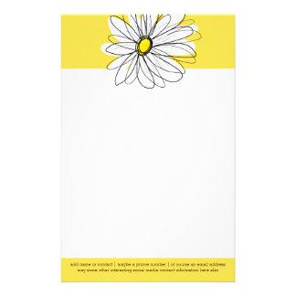 Papeterie Marguerite lunatique jaune et blanche avec le
