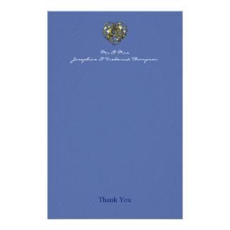 Papeterie Merci de coeur de mariage de bleu et d'or