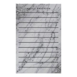 Papeterie Moderne à la mode fascinant de marbre argenté de