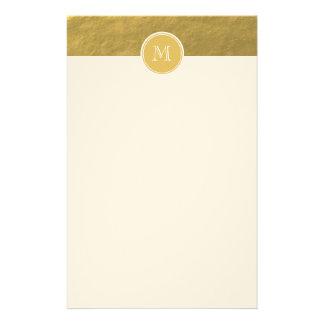 Papeterie Monogramme d'arrière - plan de feuille d'or de