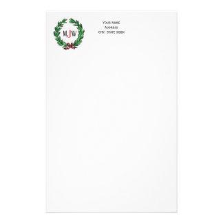 Papeterie Monogramme de fête de guirlande de houx de Noël de