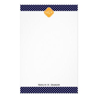 Papeterie Monogramme de Quatrefoil 3 de cantaloup de point