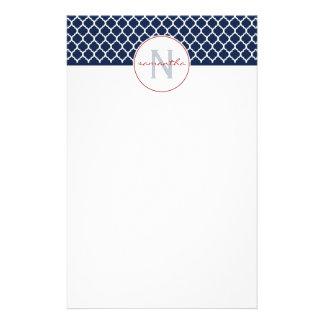 Papeterie Monogramme de Quatrefoil de bleu marine
