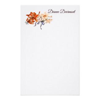 Papeterie Monogramme floral avec votre choix des lettres