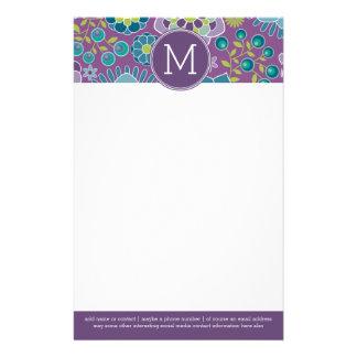 Papeterie Monogramme floral coloré génial de coutume de