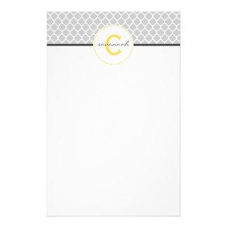 Papeterie Monogramme gris et jaune