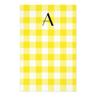 Papeterie Monogramme jaune de motif de guingan