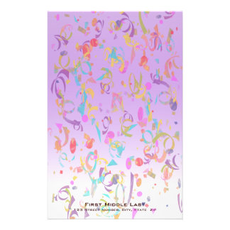 Papeterie Morceaux colorés de confettis et gradient violet