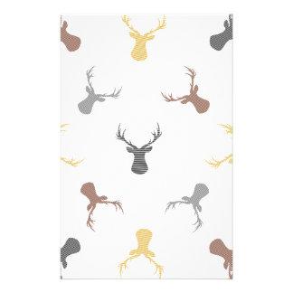 Papeterie Motif de cerfs communs - beige, brun, gris et noir