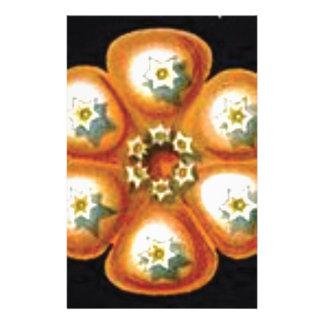 Papeterie motif de fleur orange d'étoile