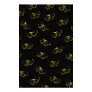 Papeterie Motif de papillons métallique d'or sur le noir