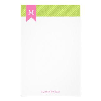 Papeterie Motif diagonal vert de rayures et monogramme rose