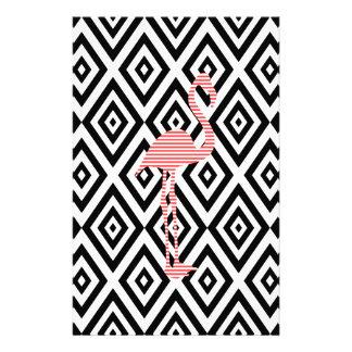 Papeterie Motif géométrique abstrait - noir - flamant rose