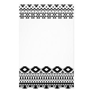 Papeterie Motif géométrique aztèque noir et blanc de vecteur