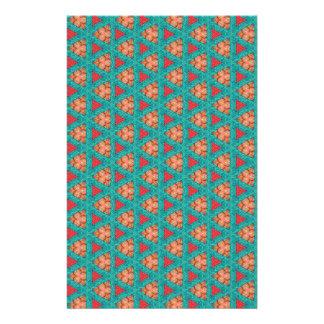 Papeterie motif orange bleu