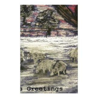 Papeterie Mouton-dans-hiver-Saison-Salutations