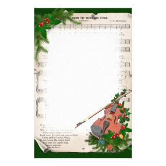 Papeterie Musique de feuille vintage de Noël avec le violon