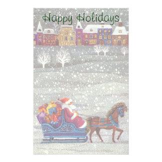 Papeterie Noël vintage, cheval Sleigh ouvert du père noël