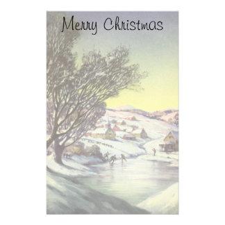 Papeterie Noël vintage, lac congelé avec des patineurs de
