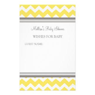 Papeterie Note de baby shower pour le jaune Chevron de bébé