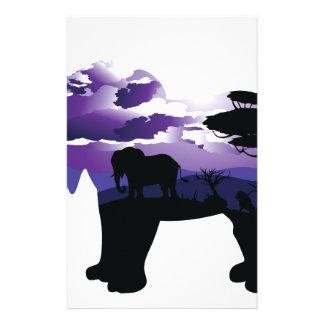 Papeterie Nuit africaine avec l'éléphant