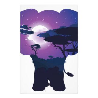 Papeterie Nuit africaine avec l'éléphant 3