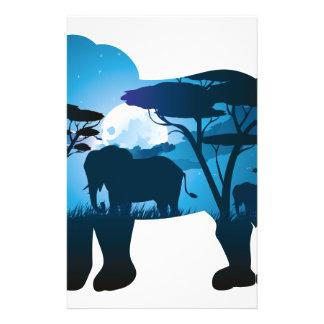 Papeterie Nuit africaine avec l'éléphant 6