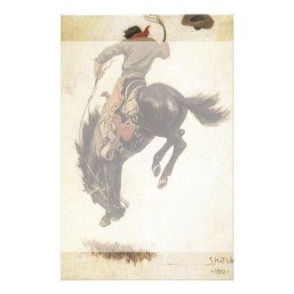 Papeterie Occidental vintage, cowboy sur un cheval