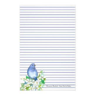 Papeterie Oiseau d'état d'oiseau bleu de montagne de bleu de