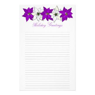 Papeterie Papier à lettres rayé par poinsettia pourpre de