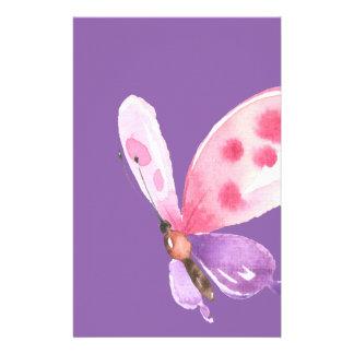 Papeterie Papillon rose et pourpre d'aquarelle