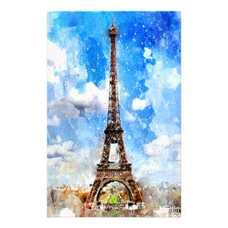 Papeterie Paris, Tour Eiffel, aquarelle, élégante