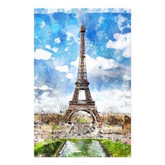 Papeterie Paysage urbain Paris, Eiffel d'aquarelle vers
