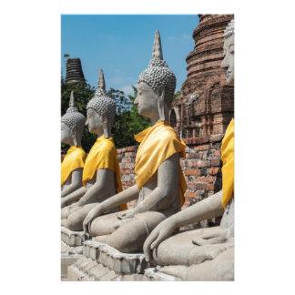 Papeterie Rangée des statues de Bouddha, Ayutthaya,