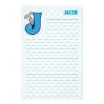 """Papeterie rayée bleue de Mongram """"J"""" de lièvre Papier À Lettre Customisable"""