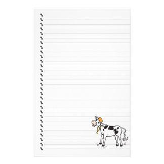 Papeterie rayée mignonne d'animal familier de vach papier à lettre customisable